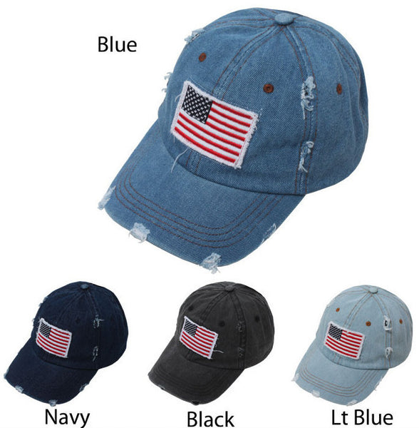Denim Distressed American Flag Patch Baseball Cap
