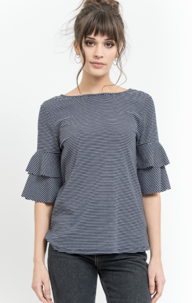 Layered Knit Top with Tie