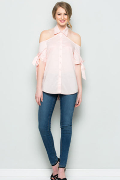 a717eef0c59cd6 Cold Shoulder Button Down Top