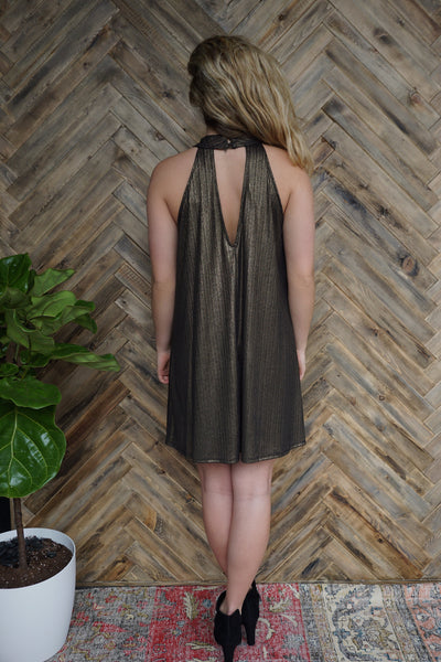 High Neck Metallic Dress