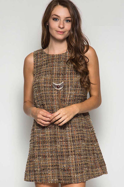 Sleeveless Multicolored Metallic Tweed Shift Dress