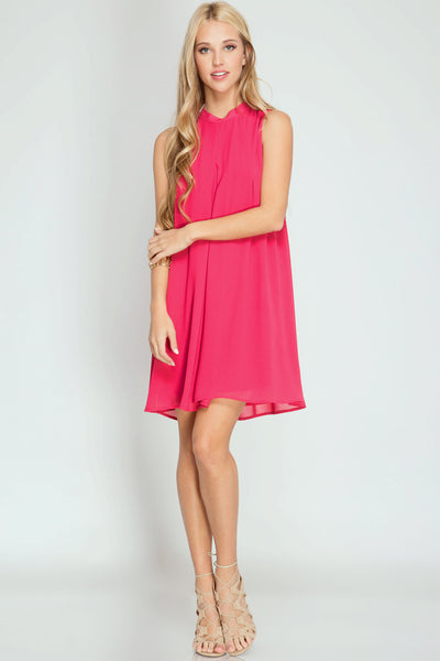Sleeveless High Neck Shift Dress