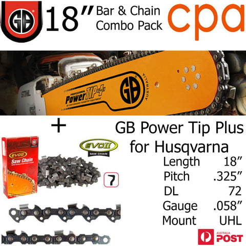 "18"" GB Chainsaw Bar & Chain Combo Power Tip+  .325"" DL72 .058"" for Husqvarna"