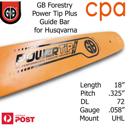 "18"" GB Chainsaw Bar Power Tip+ BAR ONLY suit- .325"" DL72 .058"" for Husqvarna"