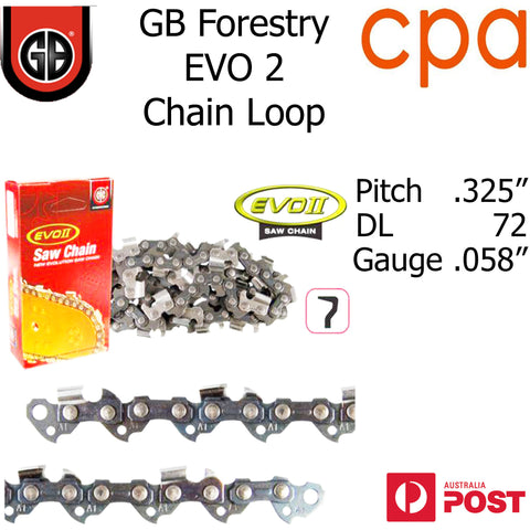 "GB EVO2 Chainsaw Chain Loop, .325"" (.058"") 72DL - Semi Chisel"