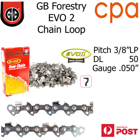 "GB EVO2 Chainsaw Chain Loop, 3/8""LP (.050"") 50DL - Semi Chisel"