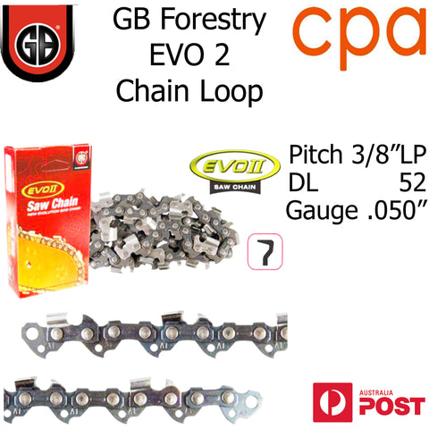 "GB EVO2 Chainsaw Chain Loop, 3/8""LP (.050"") 52DL - Semi Chisel"
