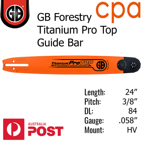 "24"" GB Titanium PRO TOP GUIDE BAR - 3/8"" (.058"") - HV24-58PA"