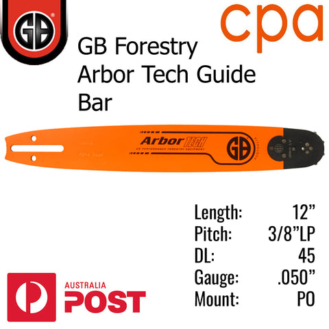 "12"" GB ARBOR TECH GUIDE BAR - 3/8""LP (.050"") - PO12-50WR"