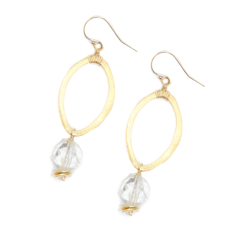 Amesbury Earrings, Clear Quartz