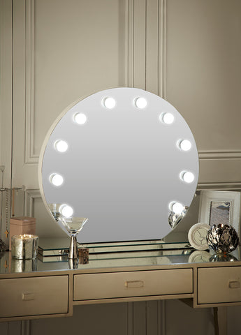 Round Hollywood Mirror Makeup Mirror with Lights Dressing Table Mirror with Lights Vanity Mirror with Lights Illuminated Makeup Mirror Holllywood Mirror UK Light Up Makeup Mirror Hollywood Mirrors