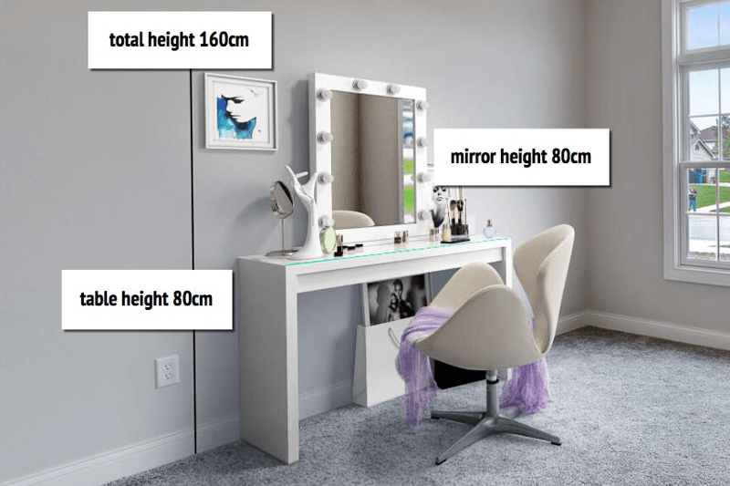 Delicieux Height. Allow 80cm For The Height Of The Table And Another 80cm For The  Height Of A Mirror.
