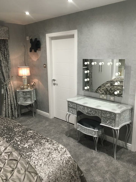 all mirror dressing table and hollywood make up mirror in grey bedroom