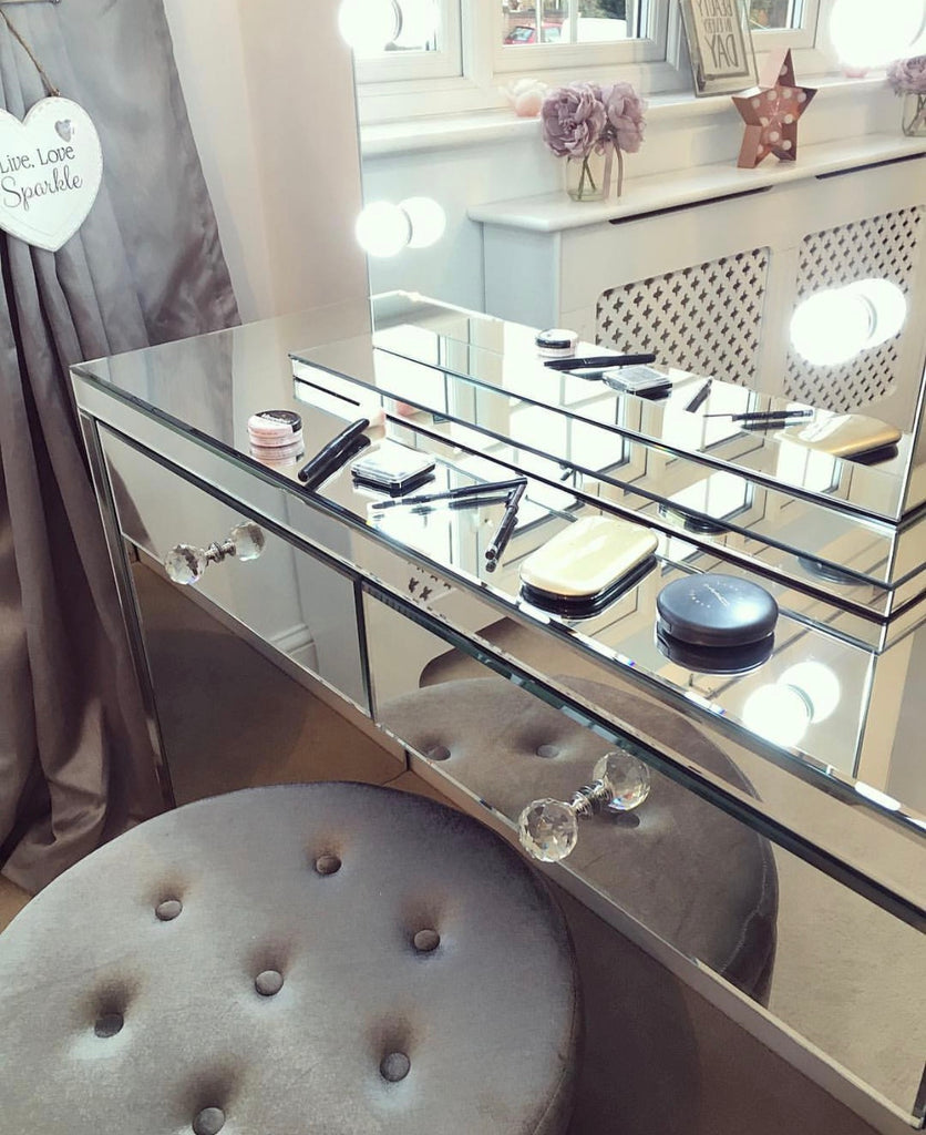 Hollywood mirror close up with dressing table & stool