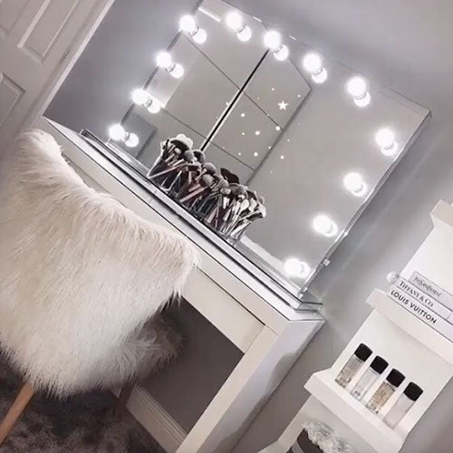 Large mirror with lights interior design