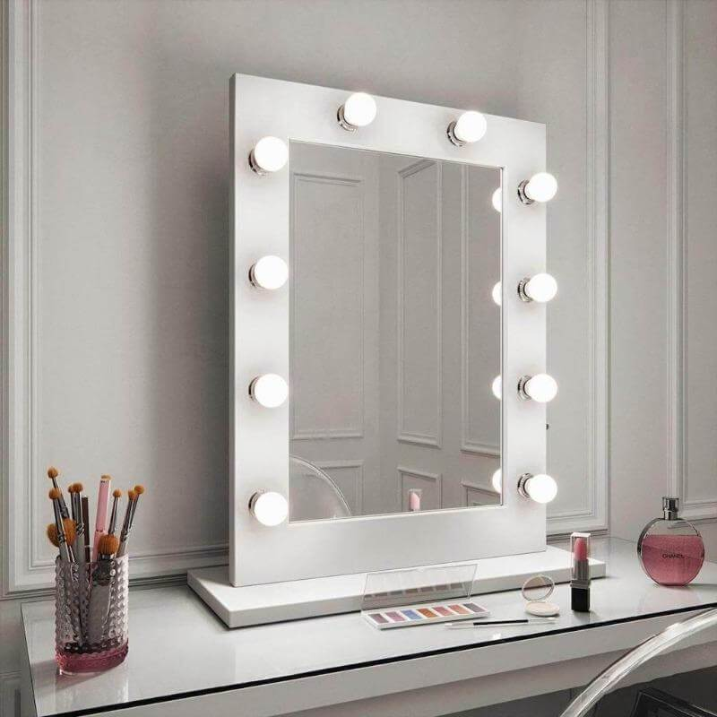 Julia White gloss dresser table top mirror