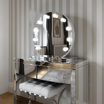 Halle Round Freestanding Hollywood Mirror