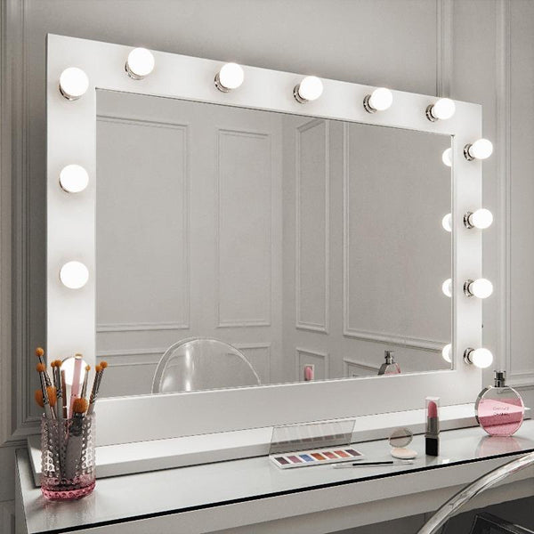 Audrey Hollywood Mirror in White Gloss 100 x 80cm ...