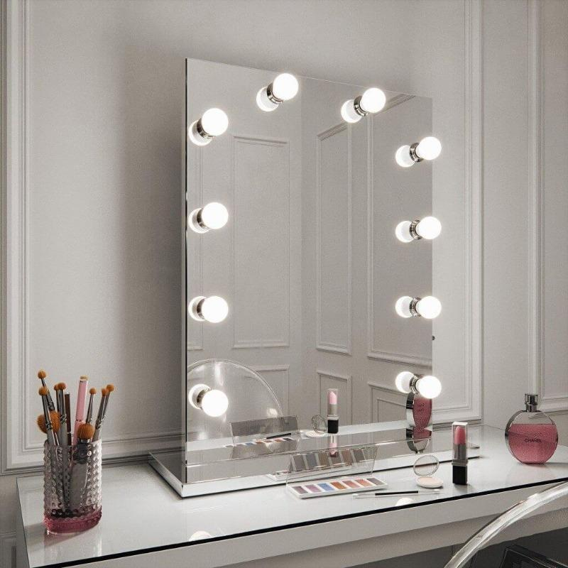 Diaz Hollywood Mirror all glass 80 x 60cm with led bulbs