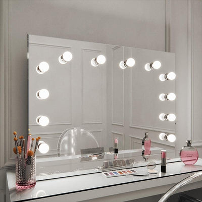Scarlett large xl table top dressing table mirror with light bulbs
