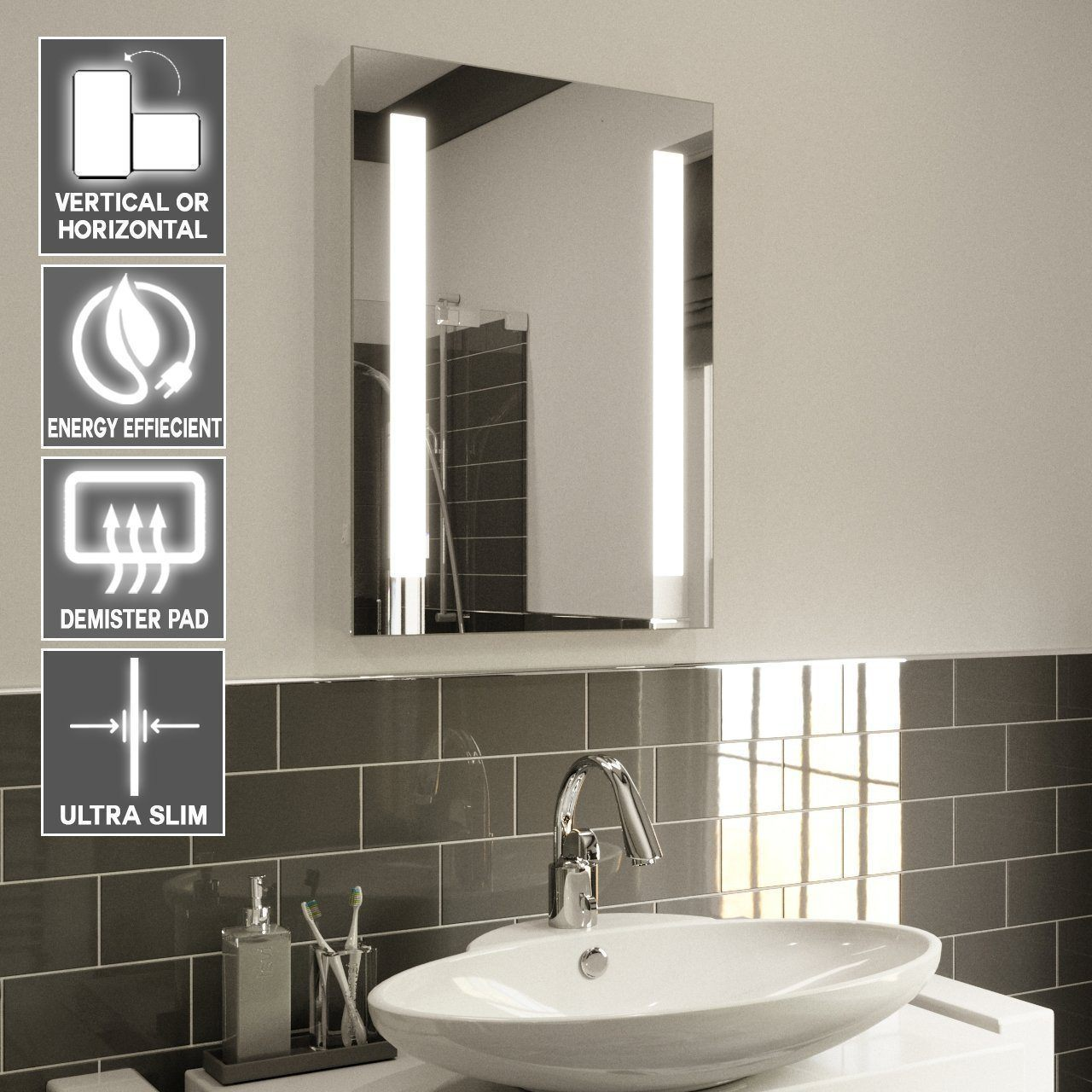 illuminated bathroom mirrors led fayeanna height 70 x width 50cm 18862
