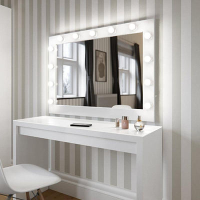Audrey Hollywood Mirror in White Gloss 80 x 100cm - hollywood mirrors