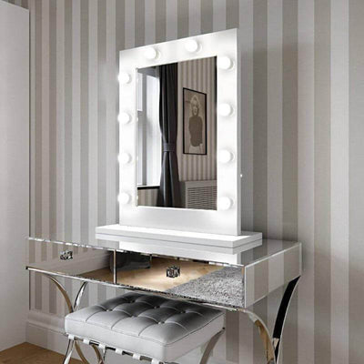Julia Hollywood Mirror in White Gloss 80 x 60cm - hollywood mirrors