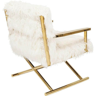 white furry chair with faux fur