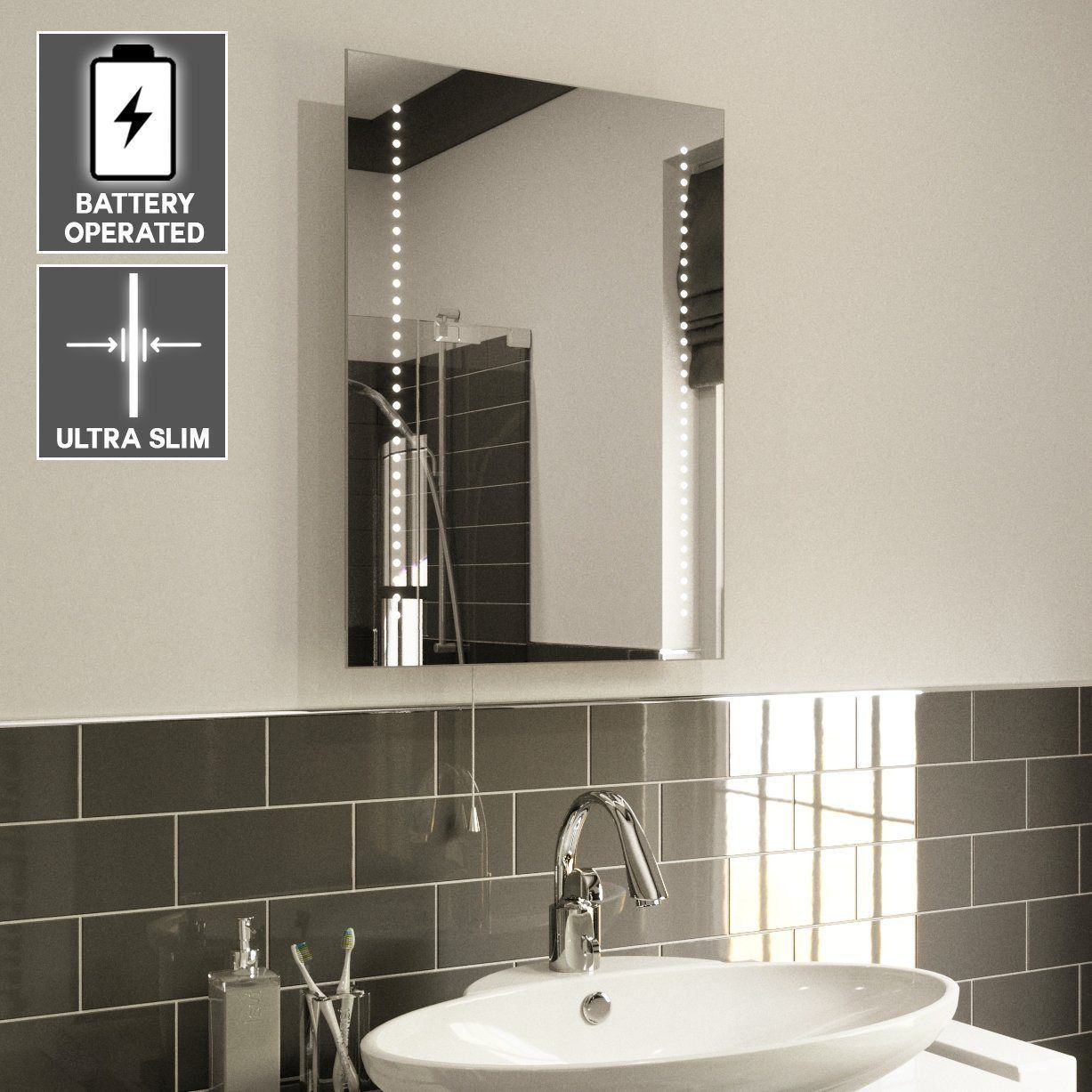 Ultra Slim Led Bathroom Mirror Battery Operated Hollywood Mirrors Jpg  1227x1227 Battery Illuminated Bathroom Cabinet Slimline