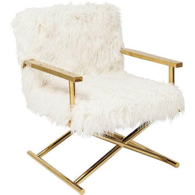 white fur chair with gold frame