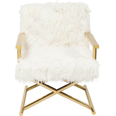 fluffy fur chair with gold frame