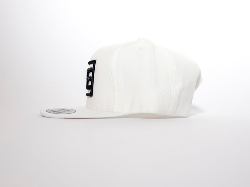 313 Block 3D White Flatpeak Snapback