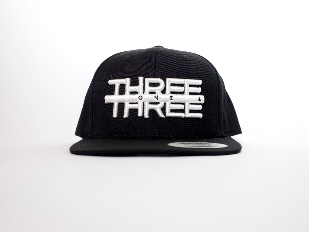THREE ONE THREE 3D Black Flatpeak Snapback