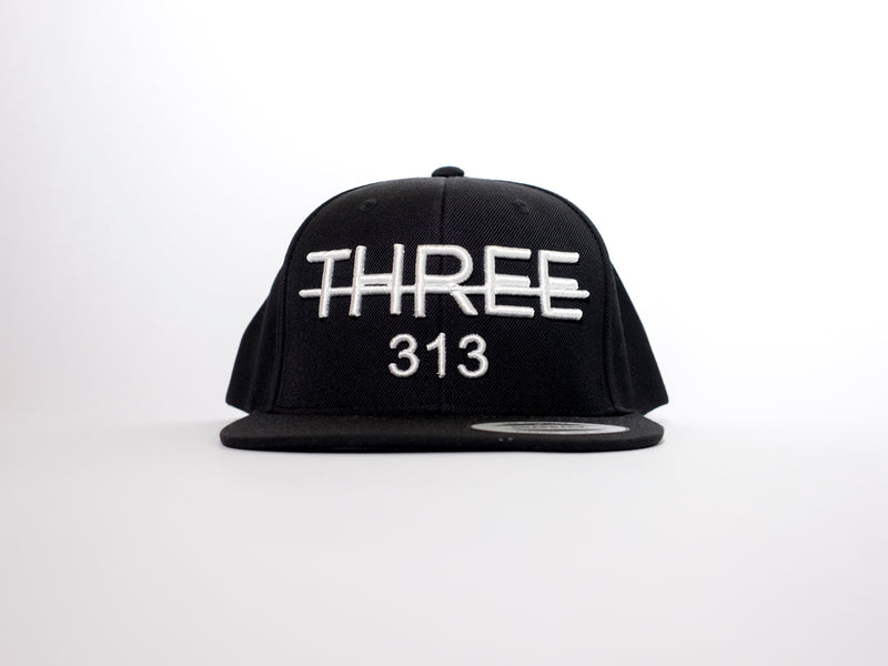 THREE 313 3D Black Flatpeak Snapback