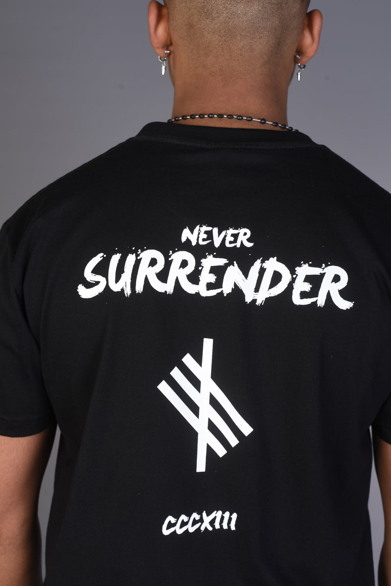 NEVER SURRENDER Symbolic Logo T Shirt - Black