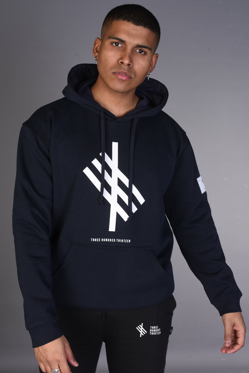 Signature Logo - Oversized Heavy Hoody - Navy