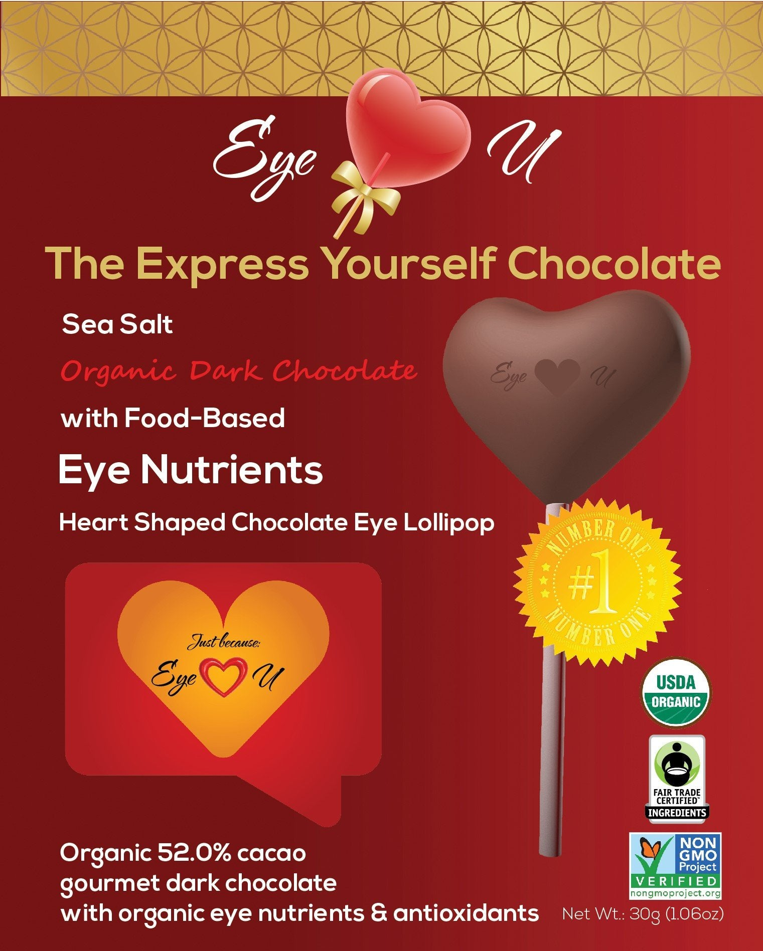Sea Salt Organic Dark Chocolate -  Heart (12 packs)