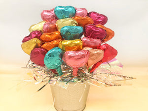Ruby Chocolates + Assorted Chocolates Flower Bouquet - Hearts + Happy Birthday Cakes (24 lollipops)