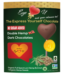 Sugar Free Double Hemp Dark Chocolate - Heart-Shaped (12 packs) - with organic FULL SPECTRUM HEMP EXTRACT and organic hemp seeds