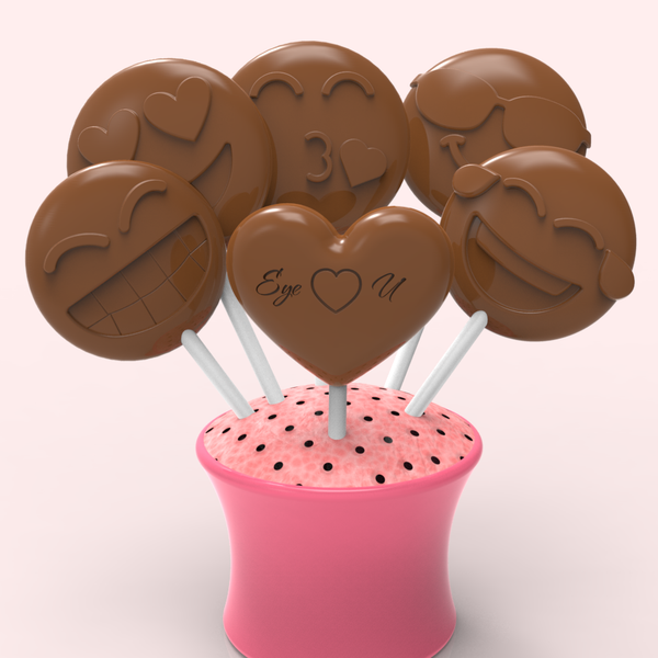 Ruby Chocolates + Assorted Chocolates Flower Bouquet - Hearts + Happy Emojis (24 lollipops)