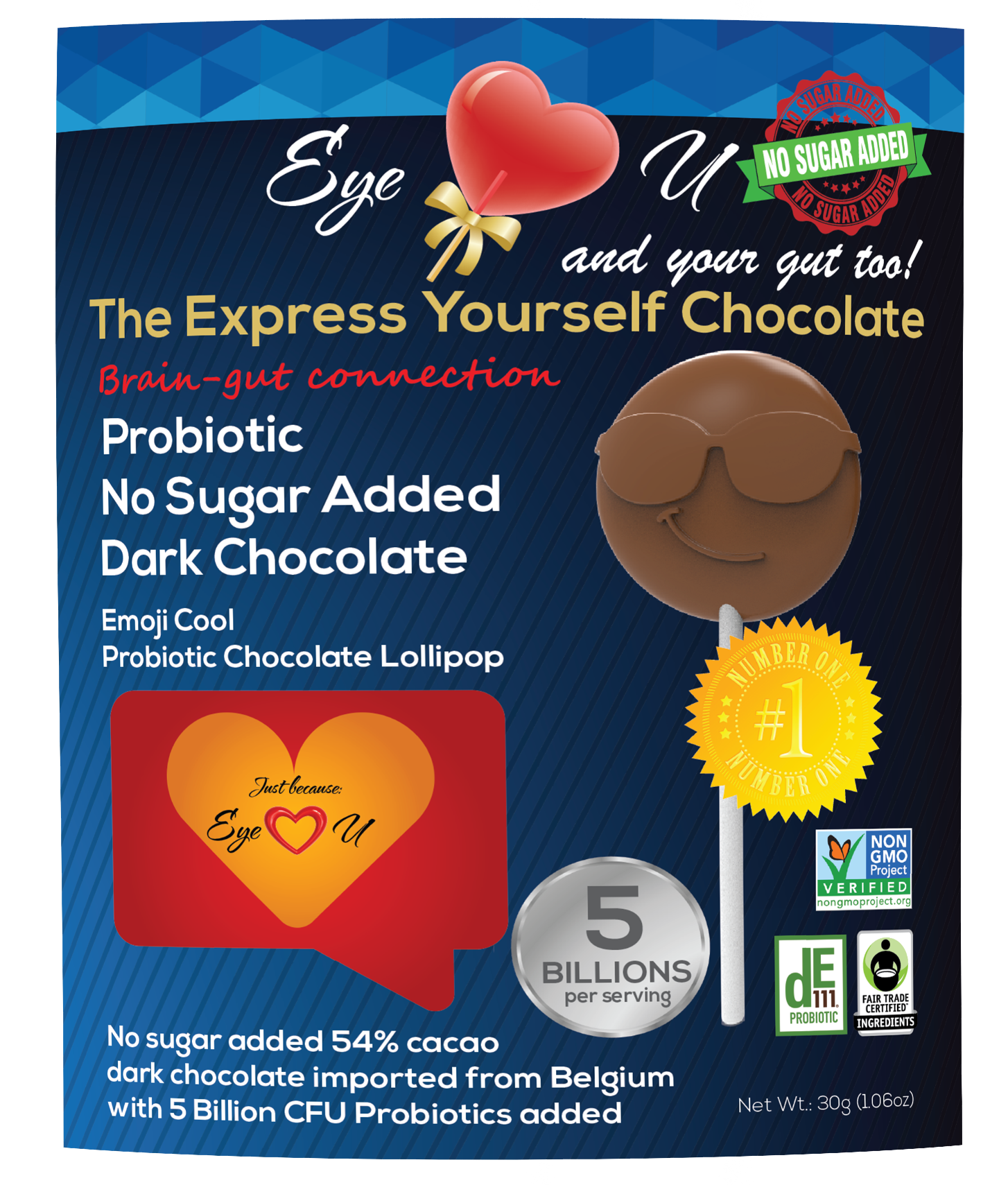 Sugar Free Probiotics Dark Chocolate - Emoji Cool (12 packs)