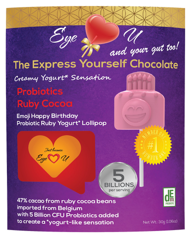 Ruby Chocolate 47.3% Cocoa Probiotics - Emoji Happy Birthday (12 packs)