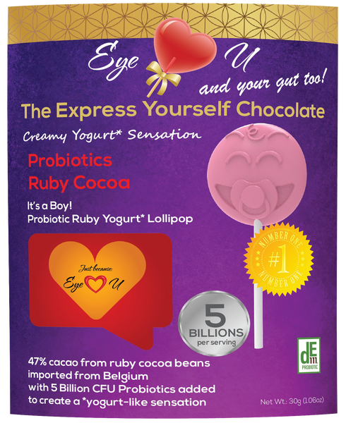 Ruby Chocolate 47.3% Cocoa Probiotics - It's a Boy! Baby Shower Party Favor (12 packs)