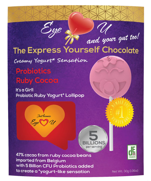 Ruby Chocolate 47.3% Cocoa Probiotics - It's a Girl! Baby Shower Party Favor (12 packs)