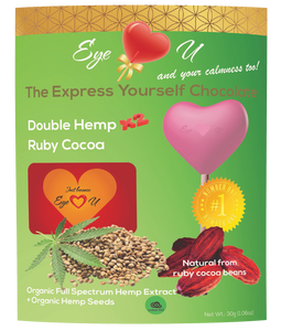 Double Hemp Ruby Chocolate 47.3% Cocoa - Heart-Shaped (12 packs) - with organic FULL SPECTRUM HEMP EXTRACT and organic hemp seeds