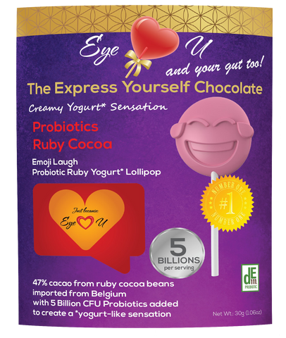 Ruby Chocolate 47.3% Cocoa Probiotics - Emoji Laugh (12 packs)