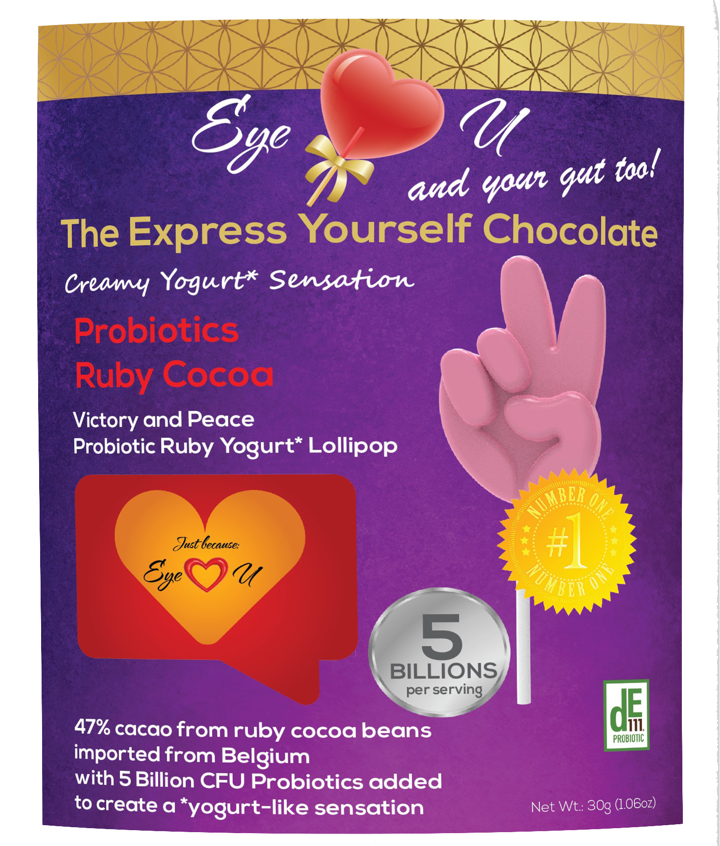 Ruby Chocolate 47.3% Cocoa Probiotics - Victory and Peace (12 packs)