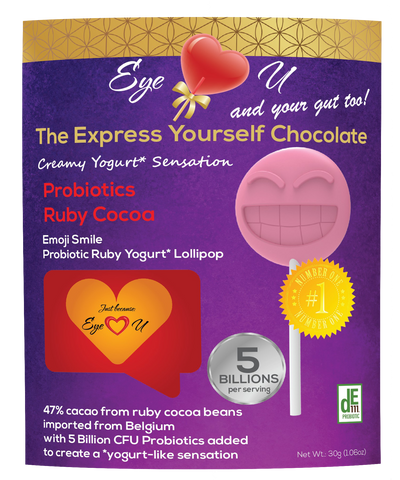 Ruby Chocolate 47.3% Cocoa Probiotics - Emoji Smile (12 packs)