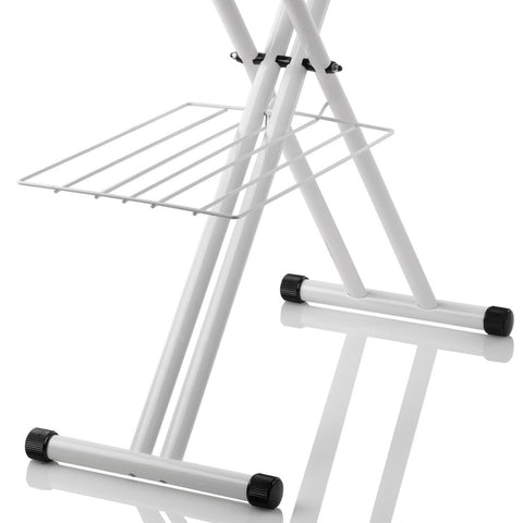 THE BOARD 220IB HOME IRONING BOARD WITH VERA FOAM COVER - DOUBLE WISHBONE LEGS AND LAUNDRY RACK