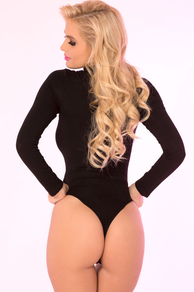 Pink Lipstick Lingerie 20008-BLK Choker Plunge Long Sleeve Bodysuit-Back view